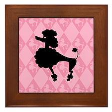 Poodle in Pink Framed Tile