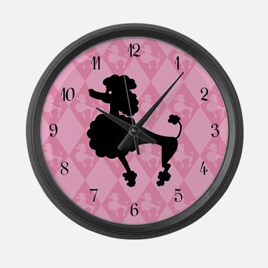 Poodle in Pink Large Wall Clock