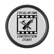 Construction Stunts Large Wall Clock