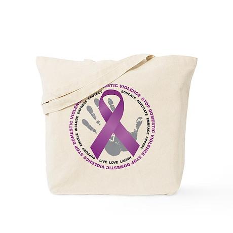 Stop Domestic Violence Ribbon Tote Bag