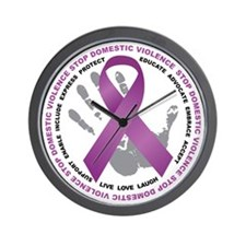Stop Domestic Violence Ribbon Wall Clock