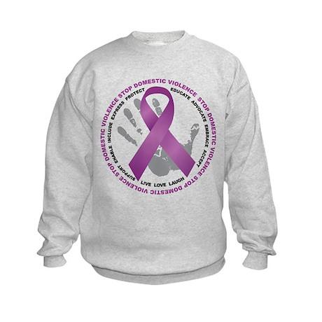 Stop Domestic Violence Ribbon Kids Sweatshirt