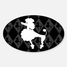 Retro Poodle Oval Decal