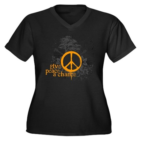 Give Peace Scene - Orange Women's Plus Size V-Neck
