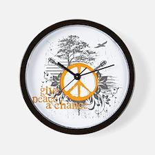 Give Peace Scene - Orange Wall Clock