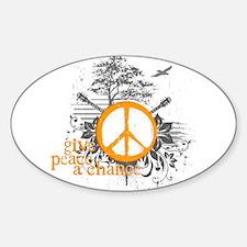 Give Peace Scene - Orange Oval Decal