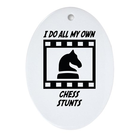 Chess Stunts Oval Ornament