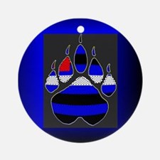 LEATHER PRIDE PAW/BLUE BOX Ornament (Round)
