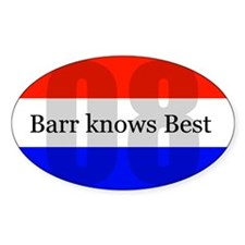 barr knows best Oval Decal