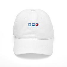 eat sleep dive (flag) Baseball Cap