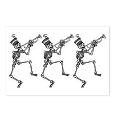 Trumpet Playing Skeletons Postcards (Package of 8)