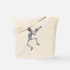 Skeleton Playing Trumpet Tote Bag