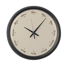 Spanish Numbers and Stars Large Wall Clock
