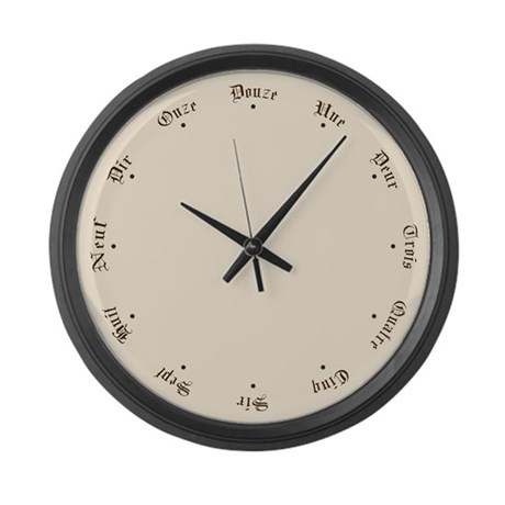 Quaint French Numbers And Stars Large Wall Clock By Mozartini
