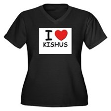 I love KISHUS Women's Plus Size V-Neck Dark T-Shir