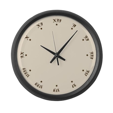 Antique Lettered Roman Numerals Large Wall Clock