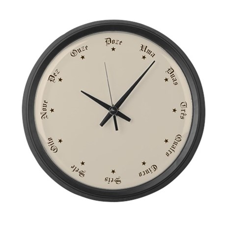 Portuguese Numbers with Stars Large Wall Clock