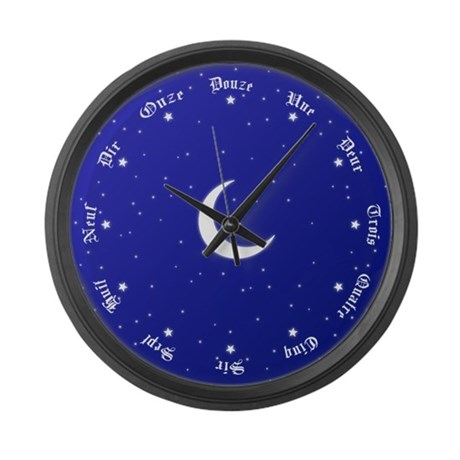 Stars & Moon French Numbers Large Wall Clock