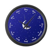 Stars & Moon Spanish Numbers Large Wall Clock