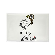 Stick Figure Tennis Rectangle Magnet (10 pack)