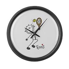 Stick Figure Tennis Large Wall Clock