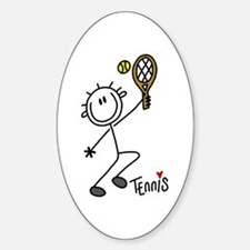 Stick Figure Tennis Oval Decal