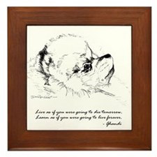 Pom in Pencil w/Ghandi Quote Framed Tile