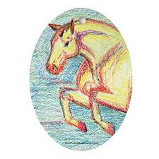 Jumper Horse Art Oval Ornament