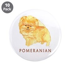"""Pomeranian Labeled 3.5"""" Button (10 pack)"""