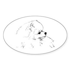 Pom Head 1 blk.&wh. Oval Decal