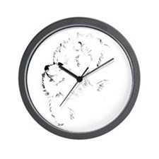 Pom Head 2 blk.&wh. Wall Clock