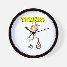 TENNIS Girl Stick Figure Wall Clock
