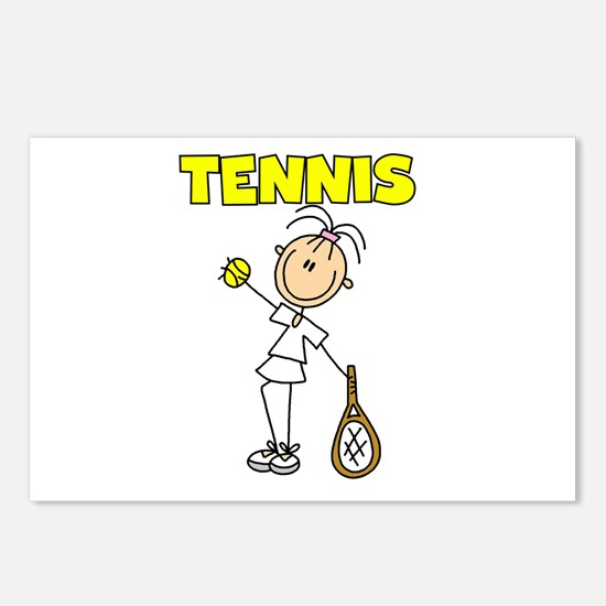 TENNIS Girl Stick Figure Postcards (Package of 8)