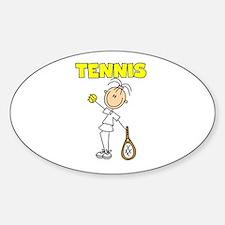 TENNIS Girl Stick Figure Oval Decal