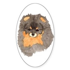 Pom Blk & Tan Headstudy Oval Decal