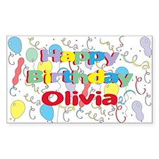Happy Birthday Olivia Rectangle Decal