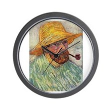 Self Portrait with Hat and Pipe Wall Clock