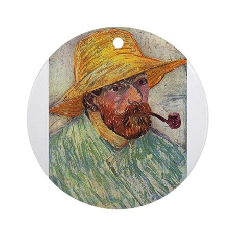 Self Portrait with Hat and Pipe Ornament (Round)