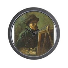 Self Portrait with Easel Wall Clock