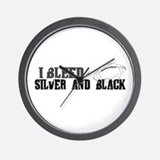 Bleed Silver and Black (Oakland) Wall Clock
