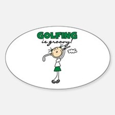 Golfing is Groovy Oval Decal