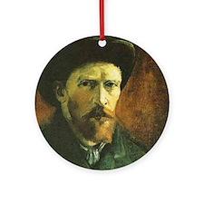 Self Portrait with Dark Felt Hat Ornament (Round)