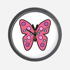 Bright Pink Butterfly Wall Clock