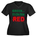 Green is Red Women's Plus Size V-Neck Dark T-Shirt