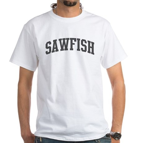 Sawfish (curve-grey) White T-Shirt