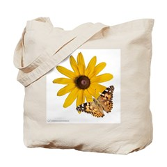 Painted Lady Butterfly and Flowers Tote Bag
