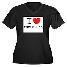 I love FOXHOUNDS Women's Plus Size V-Neck Dark T-S