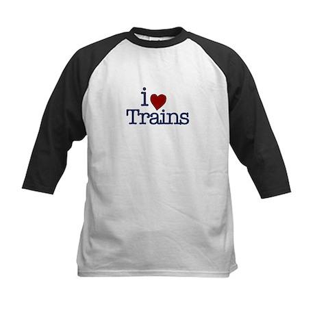 I Love Trains Kids Baseball Jersey