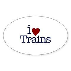 I Love Trains Oval Sticker (10 pk)