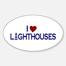 I Love Lighthouses (new) Oval Decal